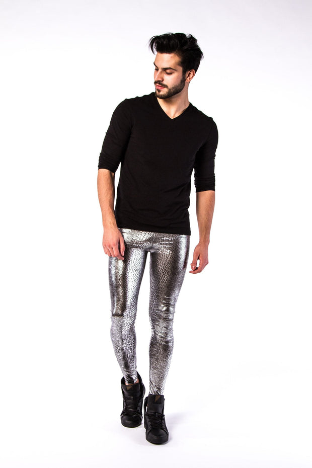 Man posing in Kapow Meggings metallic silver snakeskin men's leggings