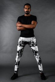 Man posing in Kapow Meggings black and white lightning print men's leggings