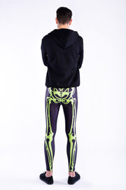 Man posing in Kapow Meggings neon green skeleton men's legging from behind