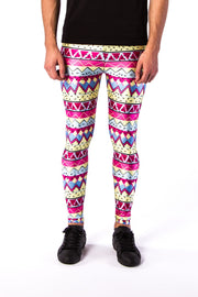 Close up of Kapow Meggings multi-coloured 80s funk men's leggings