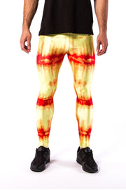 Close up of Kapow Meggings red and yellow infra-red men's leggings