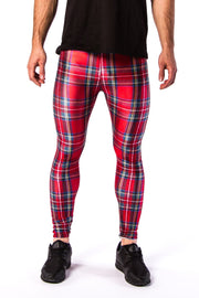 Close up of Kapow Meggings red tartan coloured men's leggings