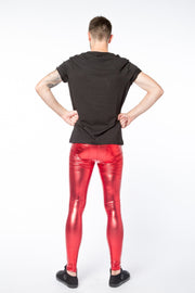 Red Peril Meggings - Metallic Metallic Meggings Kapow Meggings