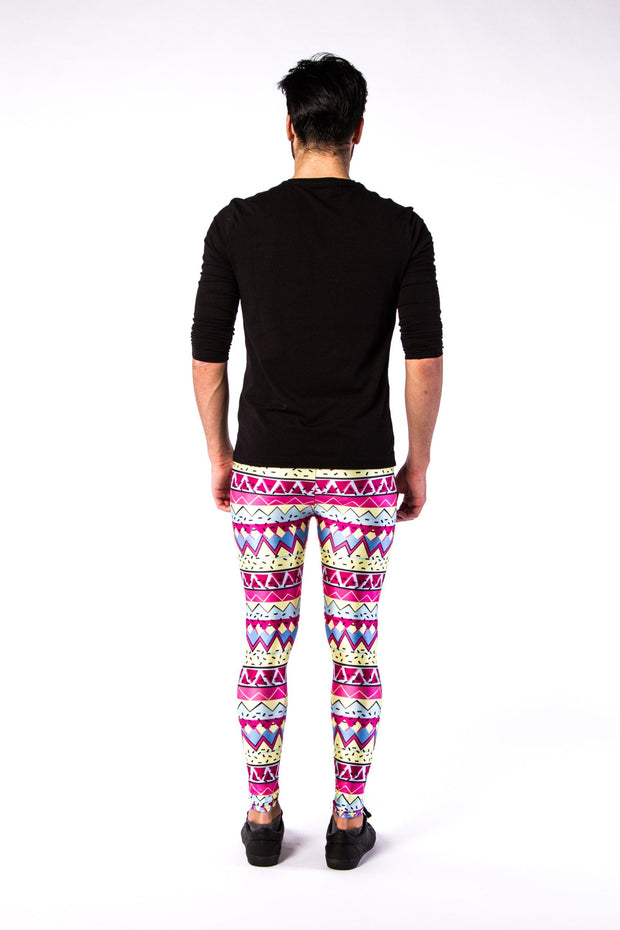 Man posing in Kapow Meggings multi-coloured 80s funk men's leggings from behind