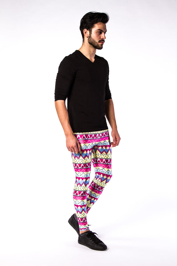 Man posing in Kapow Meggings multi-coloured 80s funk men's leggings one side view