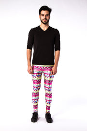 Man posing in Kapow Meggings multi-coloured 80s funk men's leggings