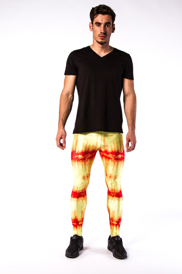 Man posing in Kapow Meggings red and yellow infra-red men's leggings