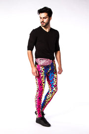 man wearing party leopard meggings and pink panther bum bag
