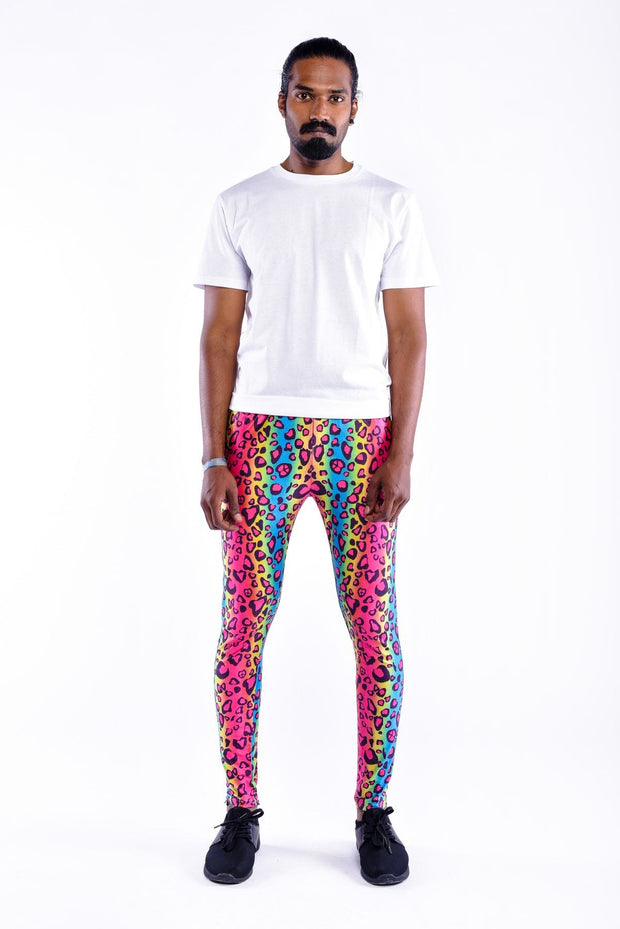 party leopard meggings front view