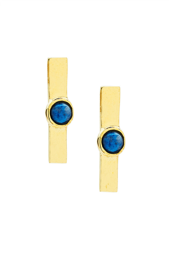 Gold Bar Studs With Lapis - LAB BY LAURA BUSONY