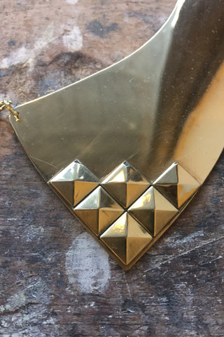 Brass Polished Studded Squared End Collar - LAB BY LAURA BUSONY