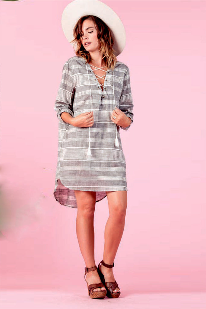 Stripe Lace-Up Shirtdress - LUCCA