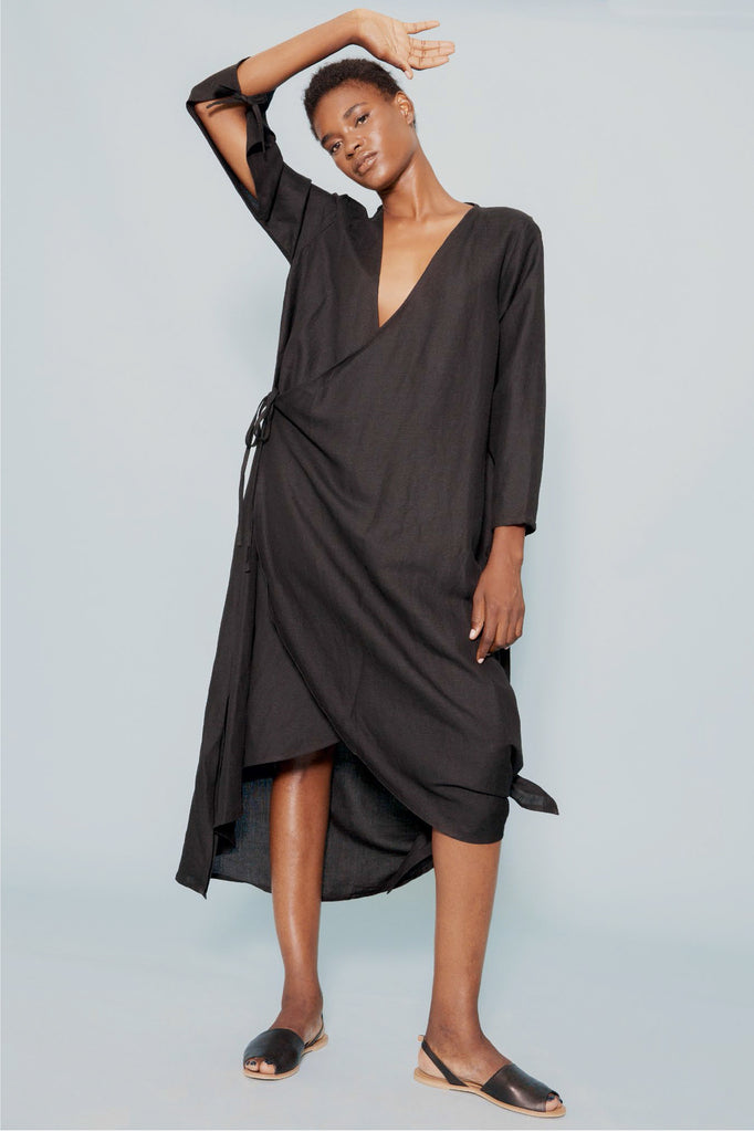 Tie Dress in Black - WRAY