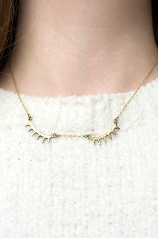 Behind Closed Eyes Brass Necklace - LAB BY LAURA BUSONY