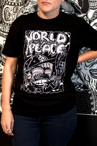"Edo Rosenblith ""World Peace"" Charity Tee in Black - LIVING COLLECTIVE"