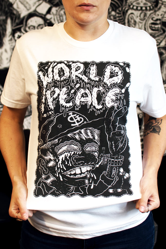"Edo Rosenblith ""World Peace"" Charity Tee in White - LIVING COLLECTIVE"