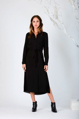 Button-Up Black Shirtdress - LUCCA