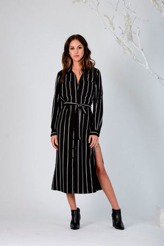 Button-Up Stripe Shirtdress - LUCCA