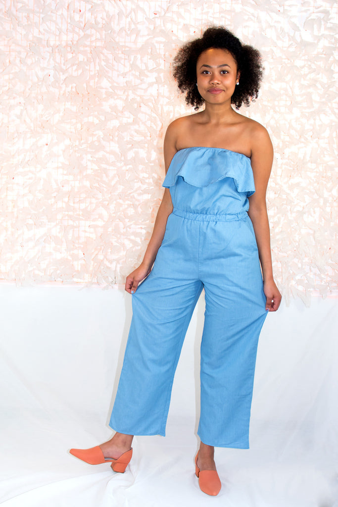 Strapless Chambray Jumpsuit - LUCCA