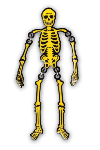 Swingin' Skeleton Glow in the Dark Lapel Pin - NIGHT WATCH STUDIOS