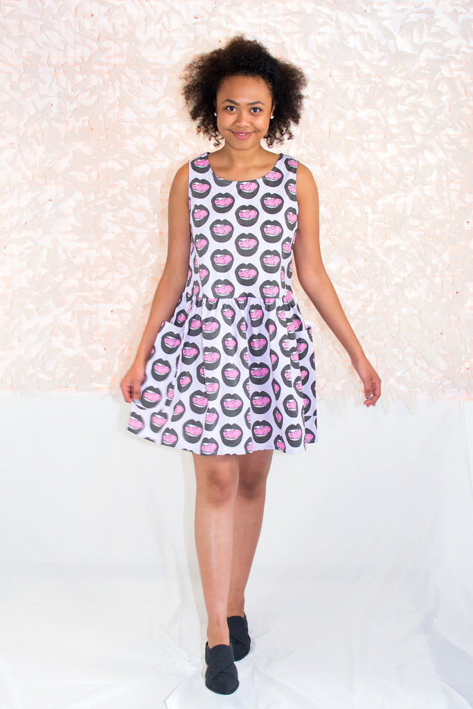 Big Pocket Dress in Mouth Print - NOOWORKS
