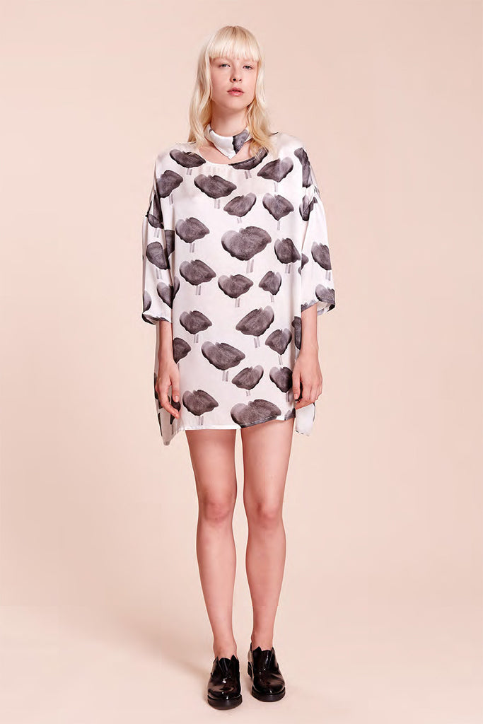 Black Bird Print Square Dress - R/H STUDIO