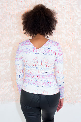 Trio Blouse in Female Fries Print - R/H STUDIO