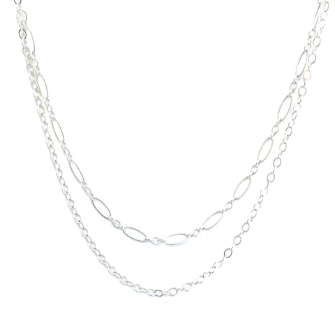 Double Layer Oval Chain Necklace