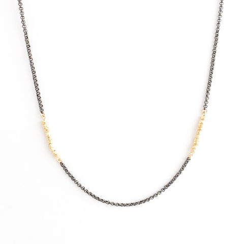 Gold Beaded Necklace on Oxidized Chain