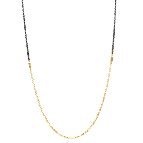 Gold and Oxidized Chain Necklace