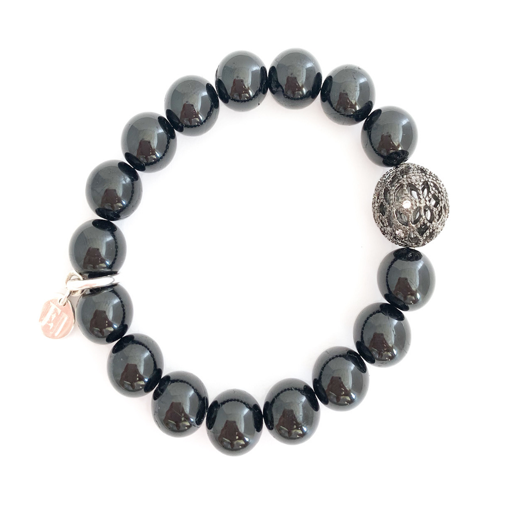 Black Beaded Bracelet with Silver Accent
