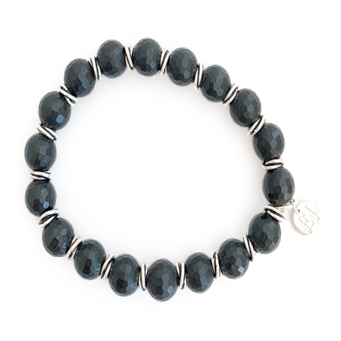 Onyx and Silver Accents Beaded Bracelet