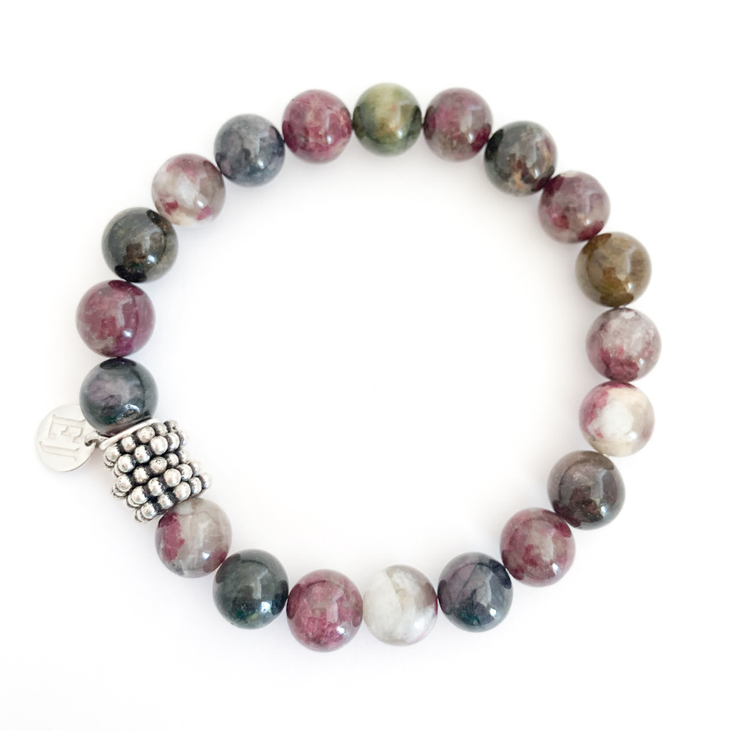 Burgundy and Black Beaded Bracelet