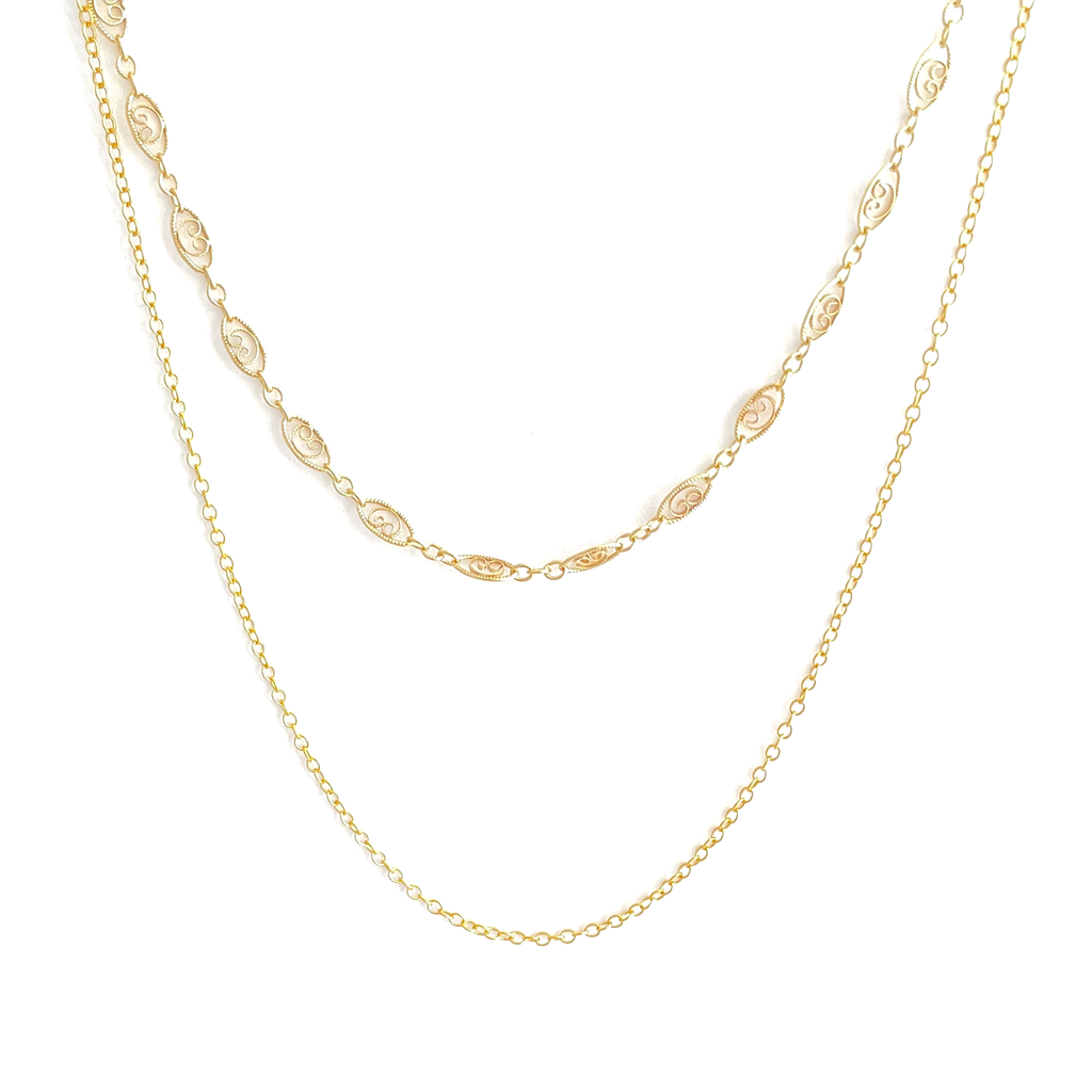 Double Layer Filigree Chain Necklace