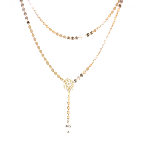 Gold Rosary Double Chain Necklace