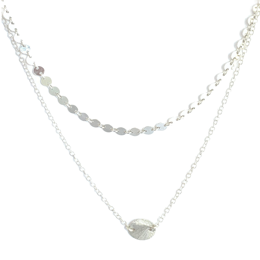 Double Chain Silver Disc Necklace