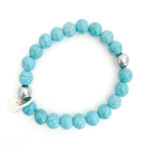 Turquoise Beaded Bracelet with Silver Bead Accents