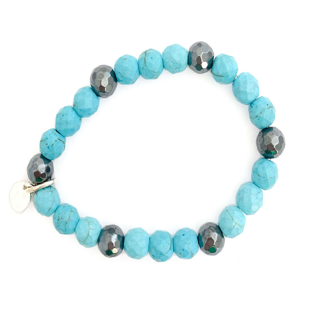 Turquoise Beaded Bracelet with Silver Accents