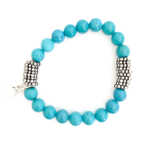 Turquoise Beaded Bracelet with Silver Disc Accents