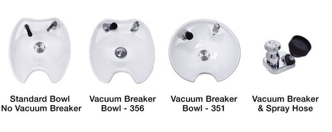 Shampoo bowl options from Deco Salon Furniture