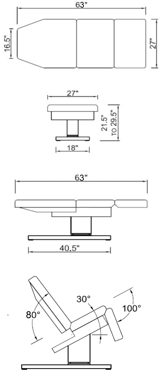 Dimensions for the Empress Spa Chair