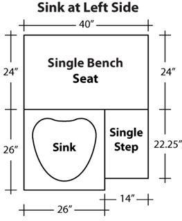 Gulfstream Tiffany Single Pedicure Bench Dimensions Left