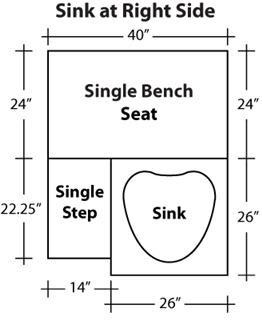 Gulfstream Tiffany Single Pedicure Bench Dimensions Right