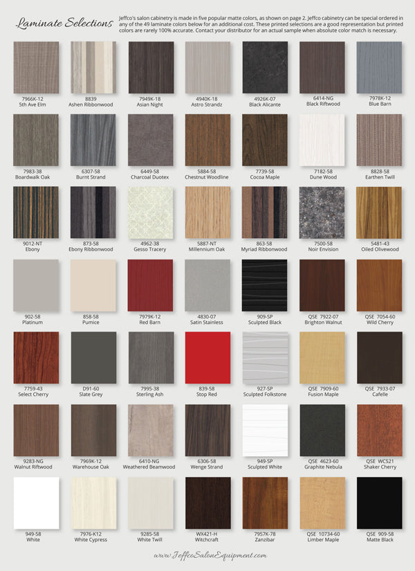 Optional laminates available from Jeffco