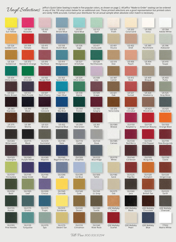 Jeffco Custom Color Upholstery Options