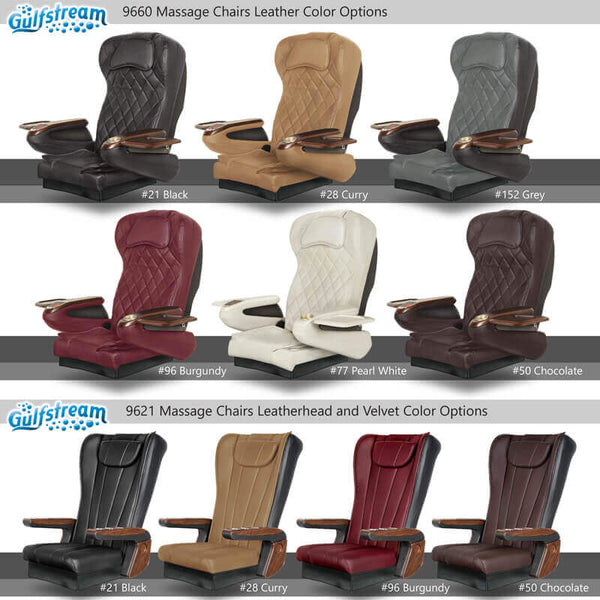 Gulfstream Pedicure Chair Tops and Colors
