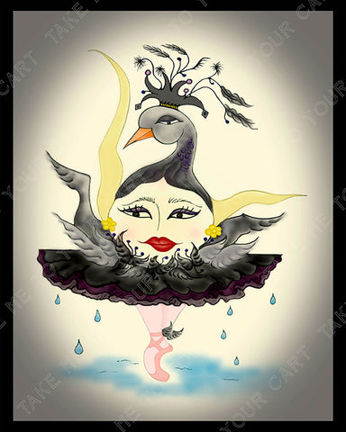 Black-Swun-The-Sunerinas-designed-by-T-Cards-by-Bad-Ballerinas-Print