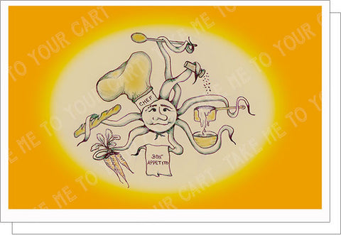 Chef Bon Appetito Artisan T-Card by Bad Ballerinas Epicurean Delights Greeting Card Note Card Classy