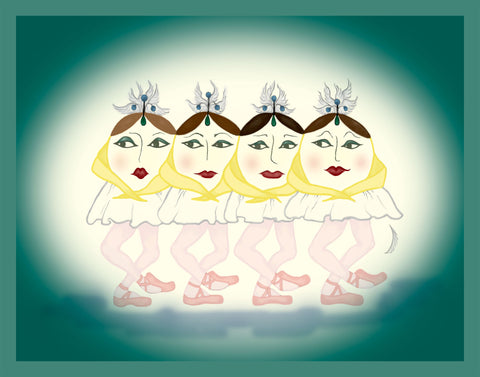 Four-Sungnets-The-Sunerinas-designed-by-T-Cards-by-Bad-Ballerinas-Print