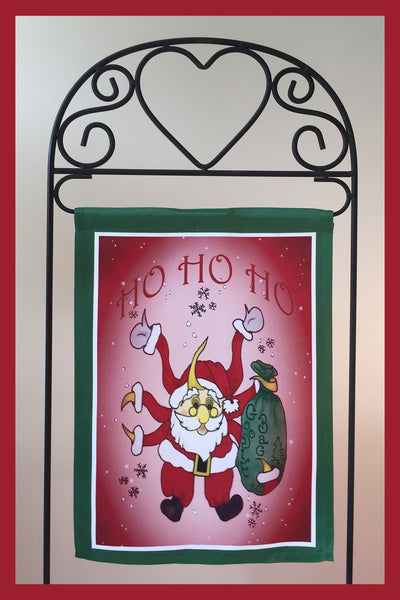 HO-HO-HO-12x18-Garden-Window-Flag-Fly-Me-The-Sunny-Breezes-Decorative-Flags-Collection-Christmas-T-Cards-by-Bad-Ballerinas-Photo-Stand